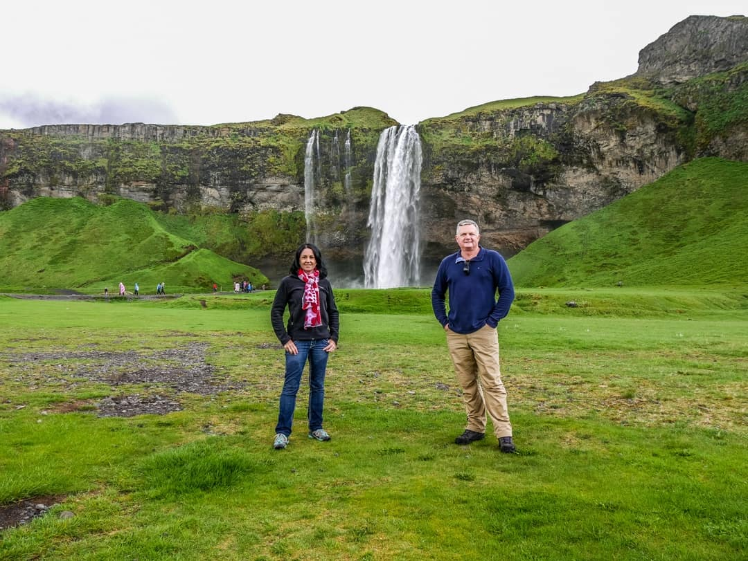 keri and stirling seljalandfoss waterfall
