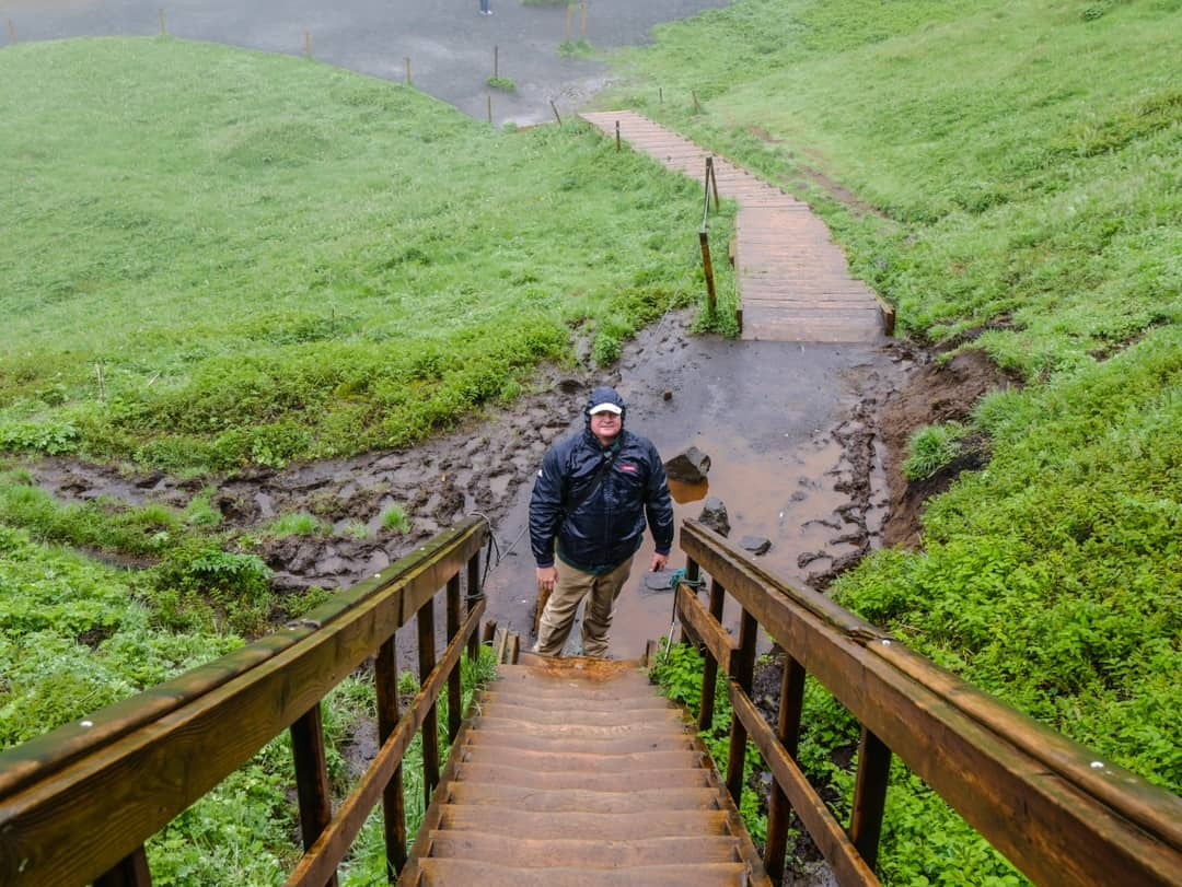 slippery and muddy steps at seljalandsfoss