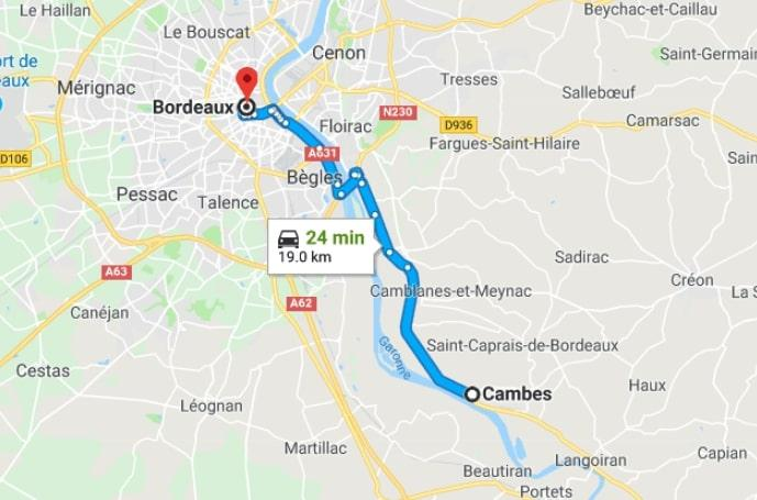 bordeaux to cambes map
