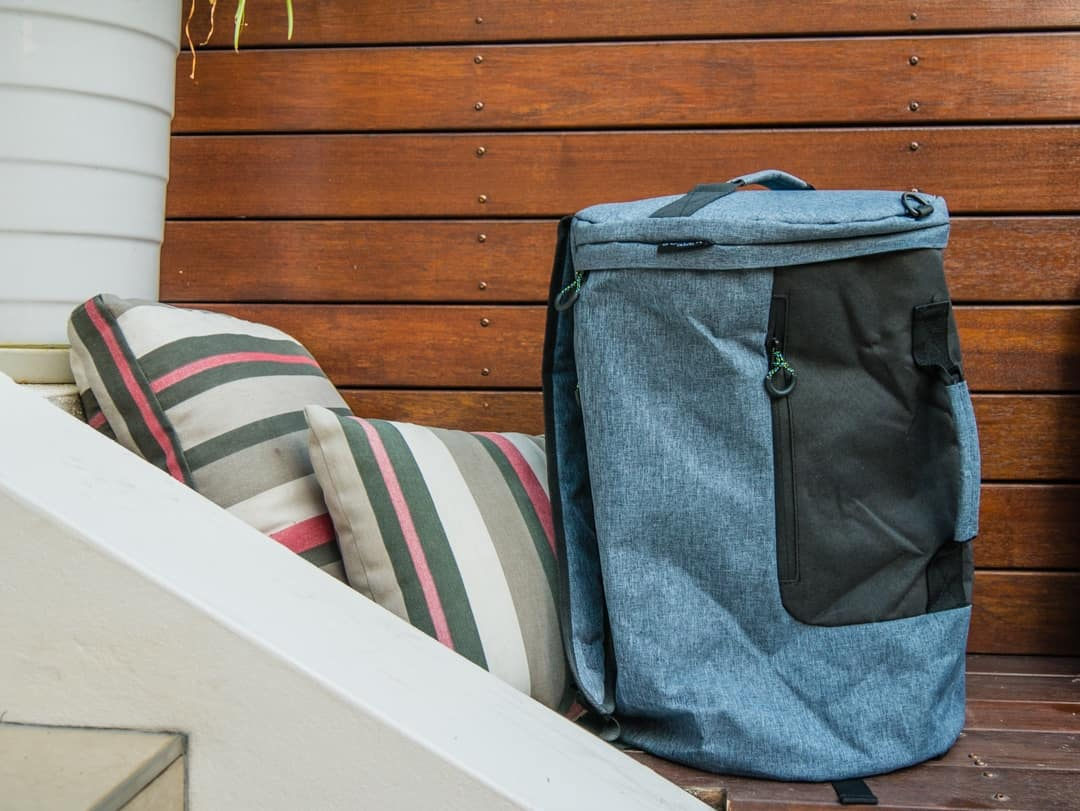 voyage travel bag sitting upright