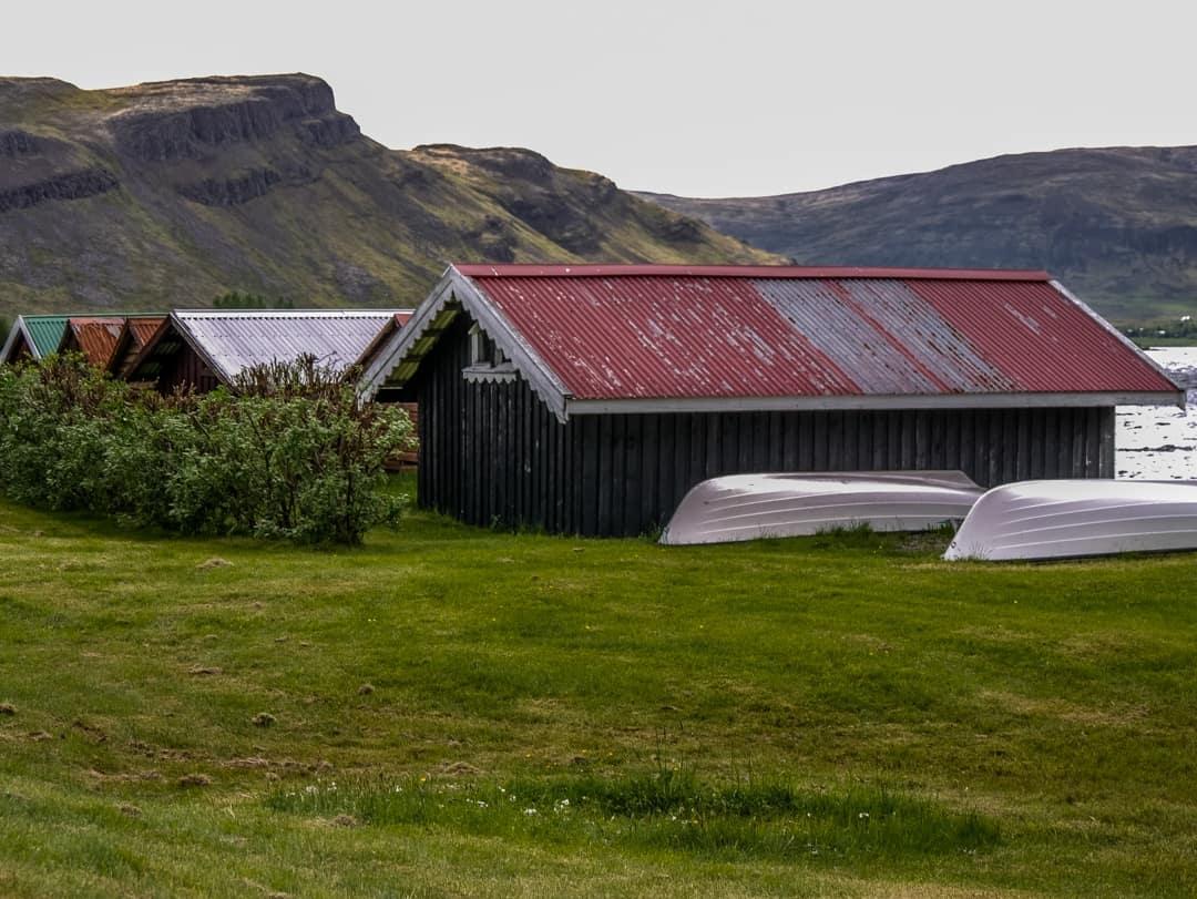 boats on lake Meðalfellsvatn