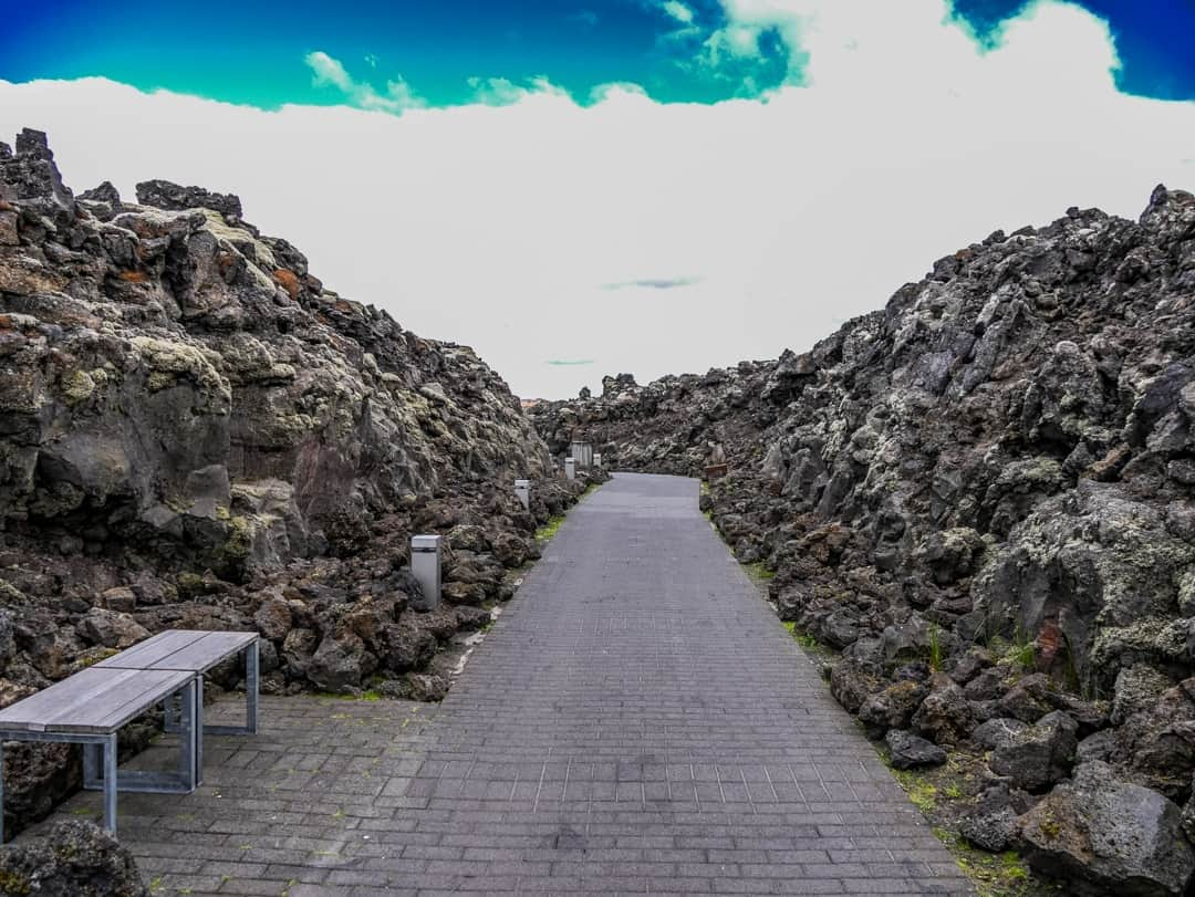the walkway into the blue lagoon