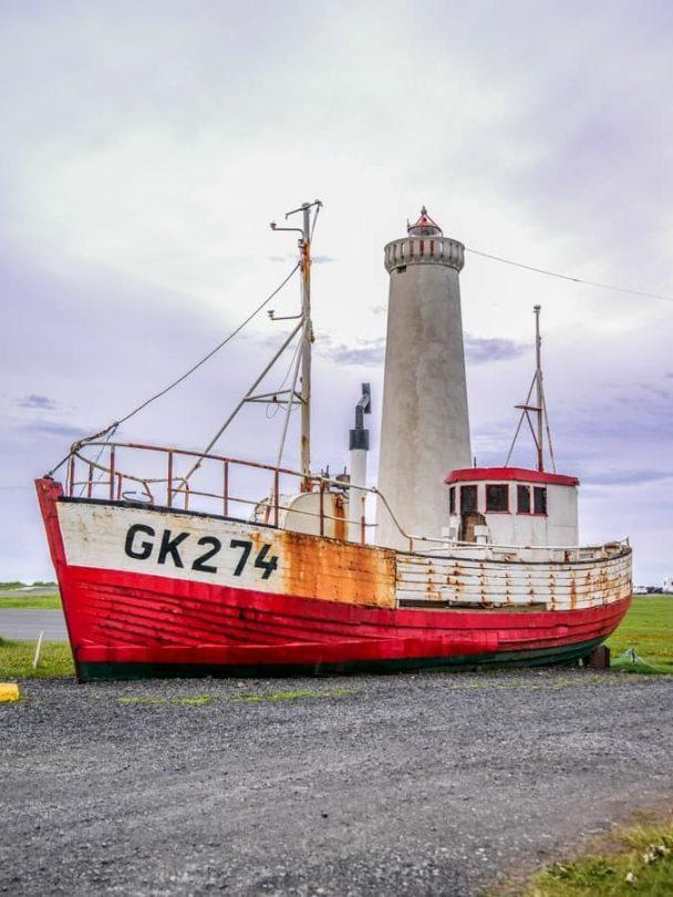 gardur lighthouse and boat