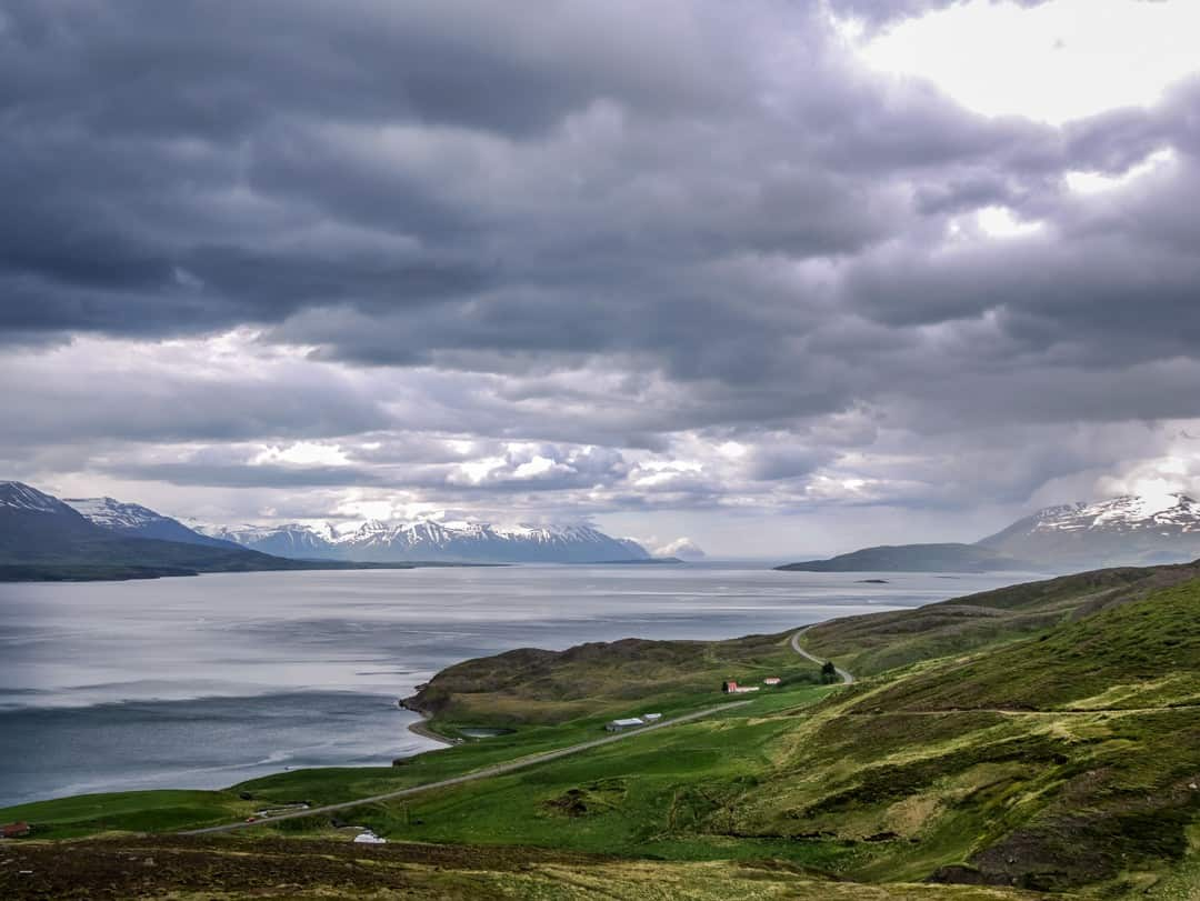 the fjord landscape around akureyri