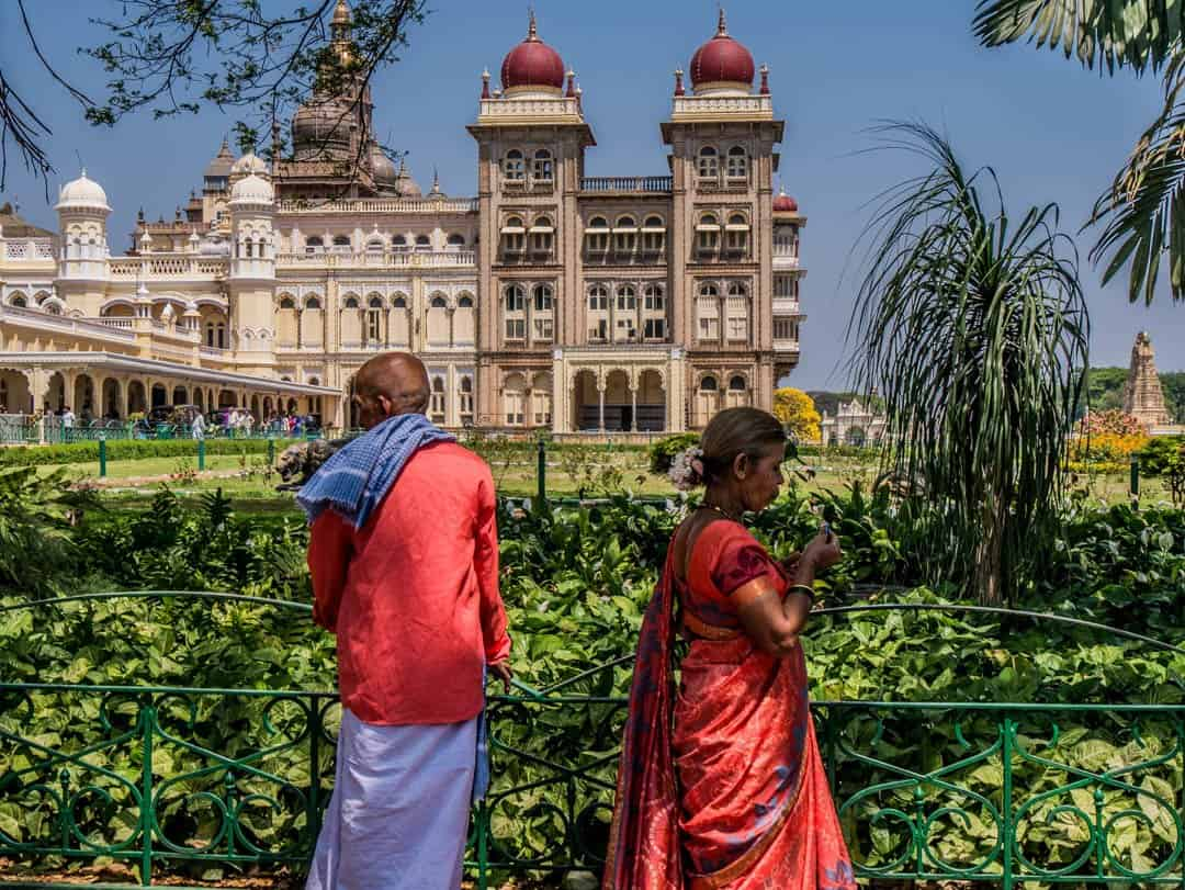 the gardens surrounding the mysore palace