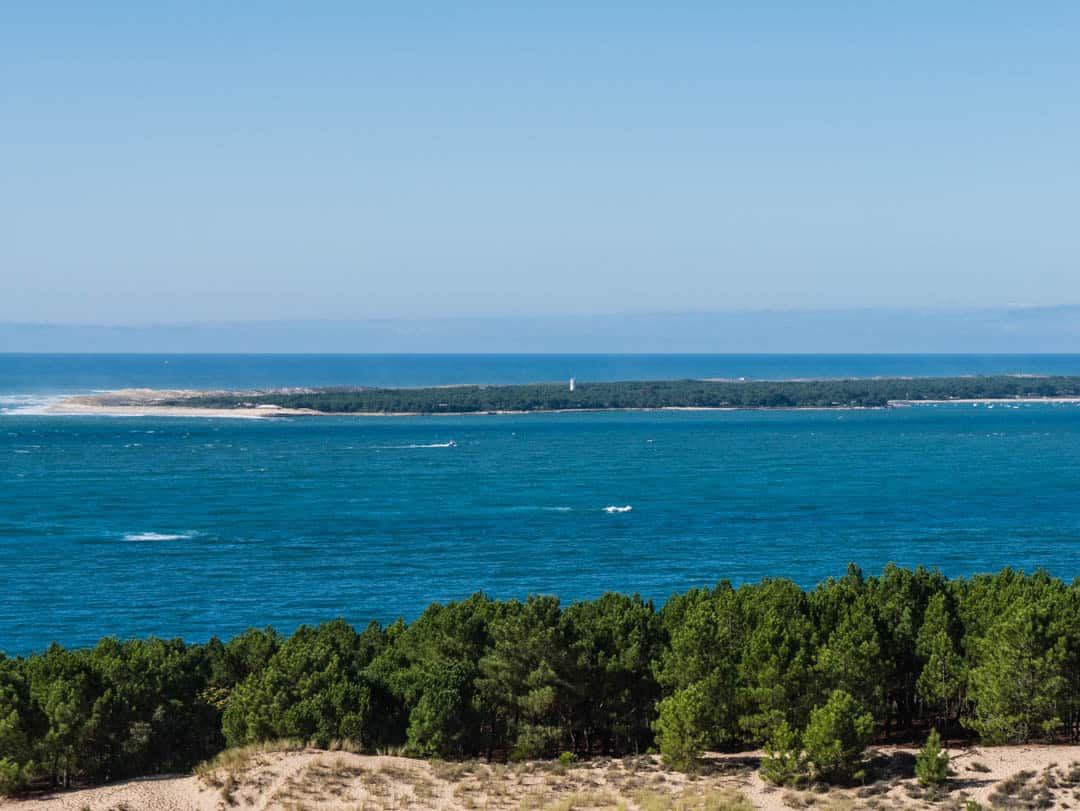 looking across arcachon bay to cap ferret peninsula