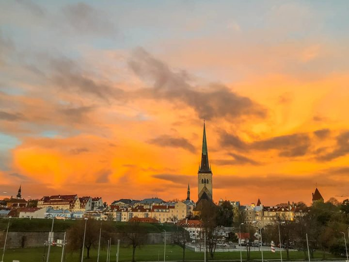 tallin old town sunset