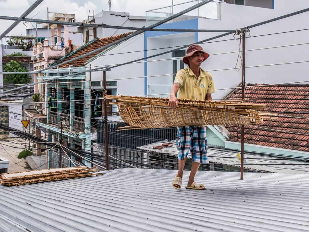 drying out rice papers on the roof