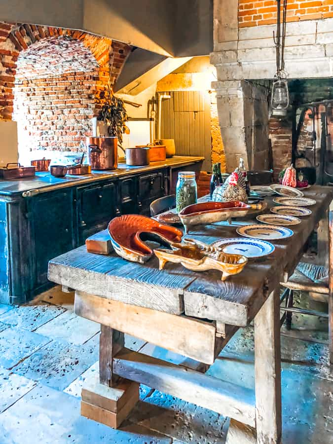 kitchen in chateau de la bussiere