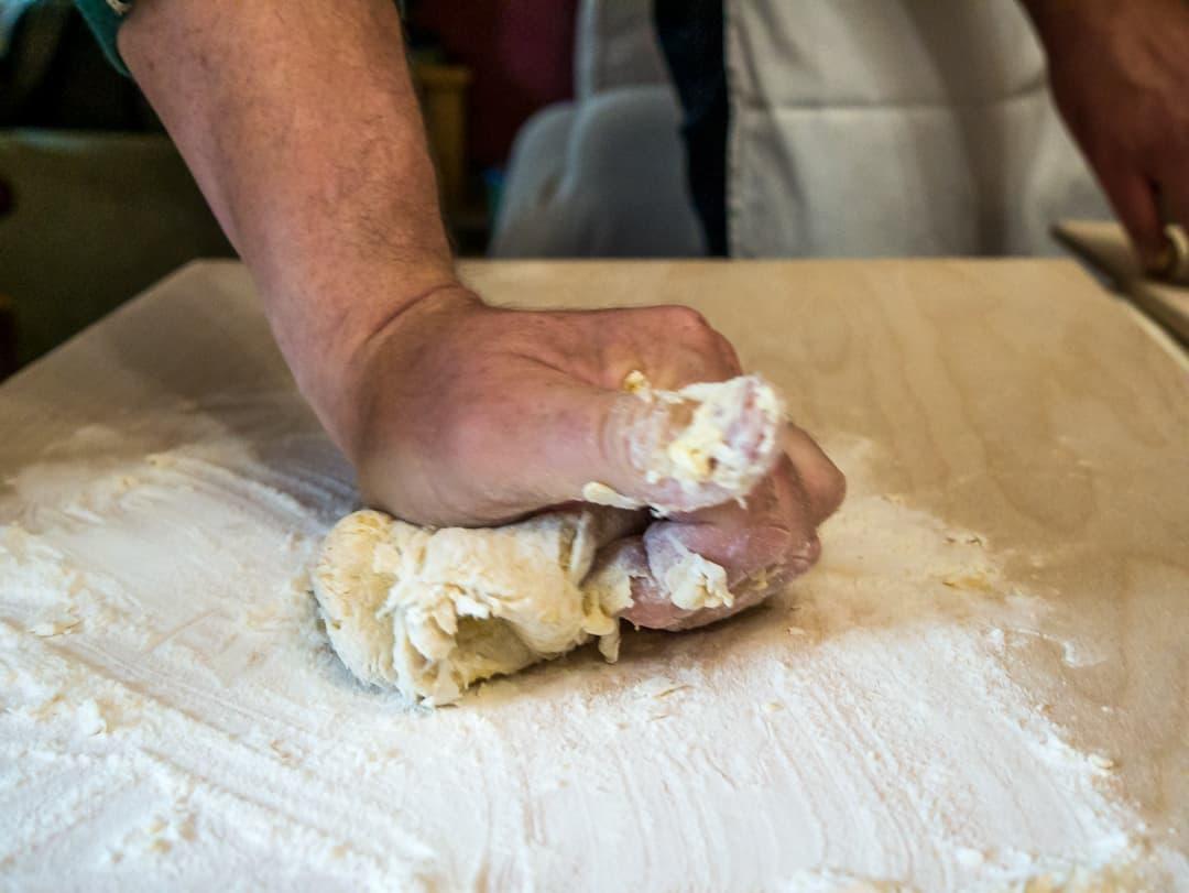 kneading pasta