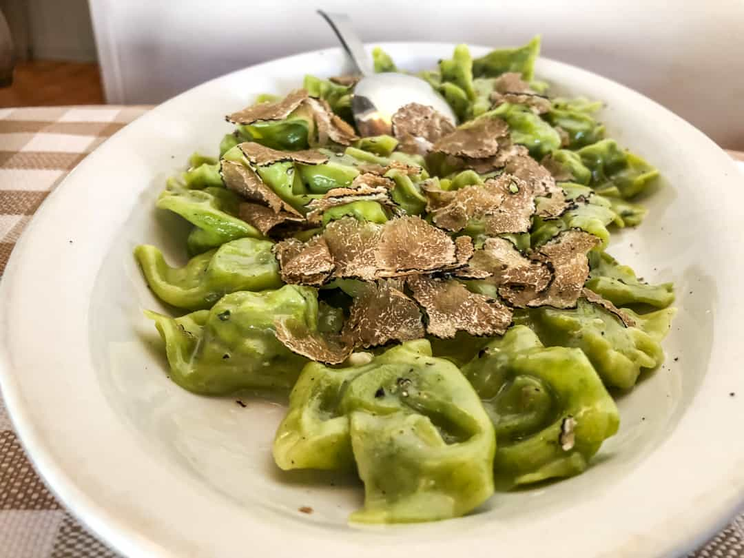 spinach tortellini with truffle truffle hunting in Italy