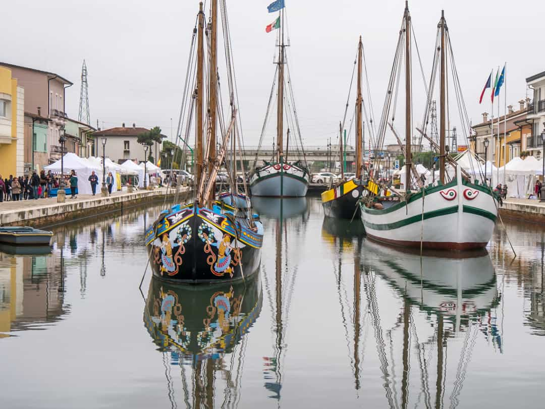 brightly coloured boats of cesenatico