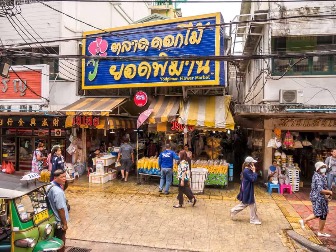 bangkok flower market from the hop on hop off bus bangkok