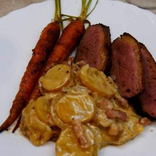 Duck and potato Dauphinoise