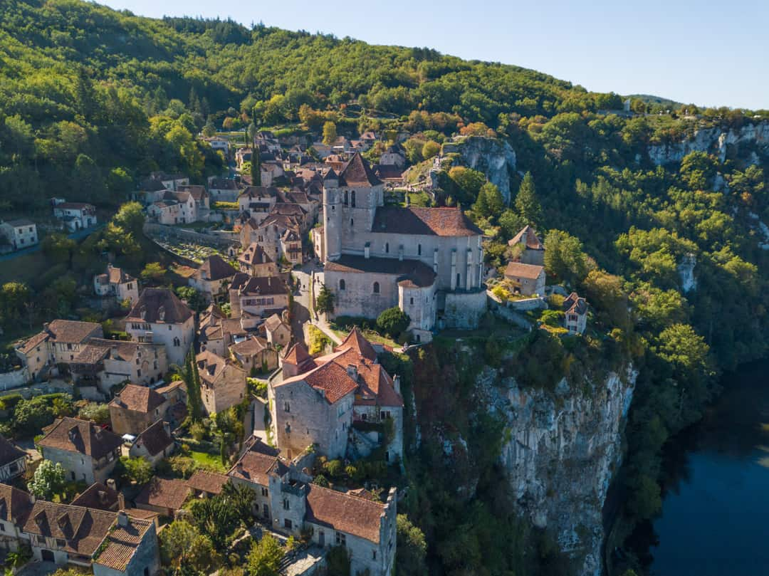 saint cirq lapopie from the drone