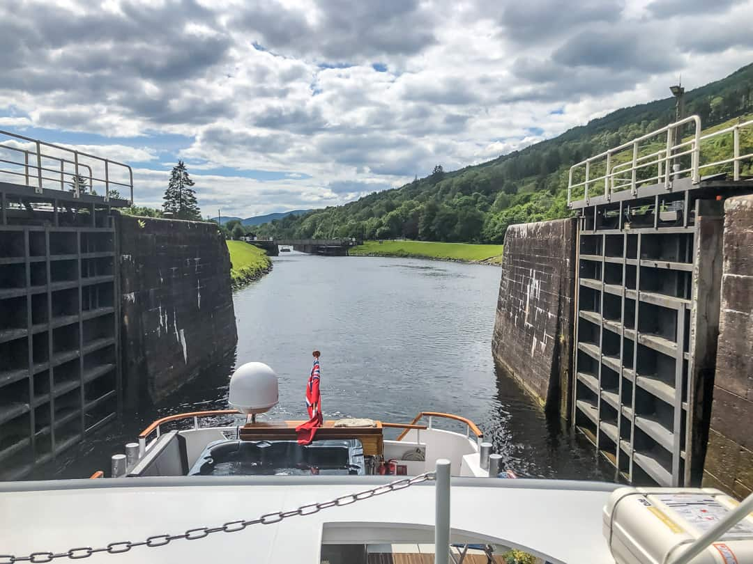 Spirit of Scotland going through a lock barge cruises in scotland