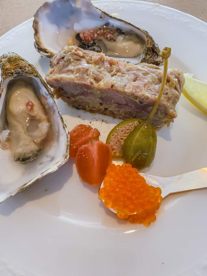 duck rillette with oysters