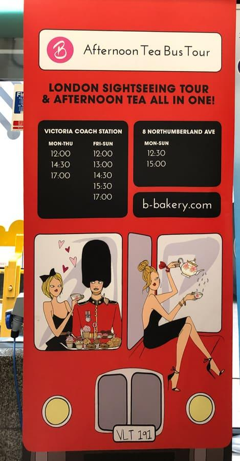 bus afternoon tea sign