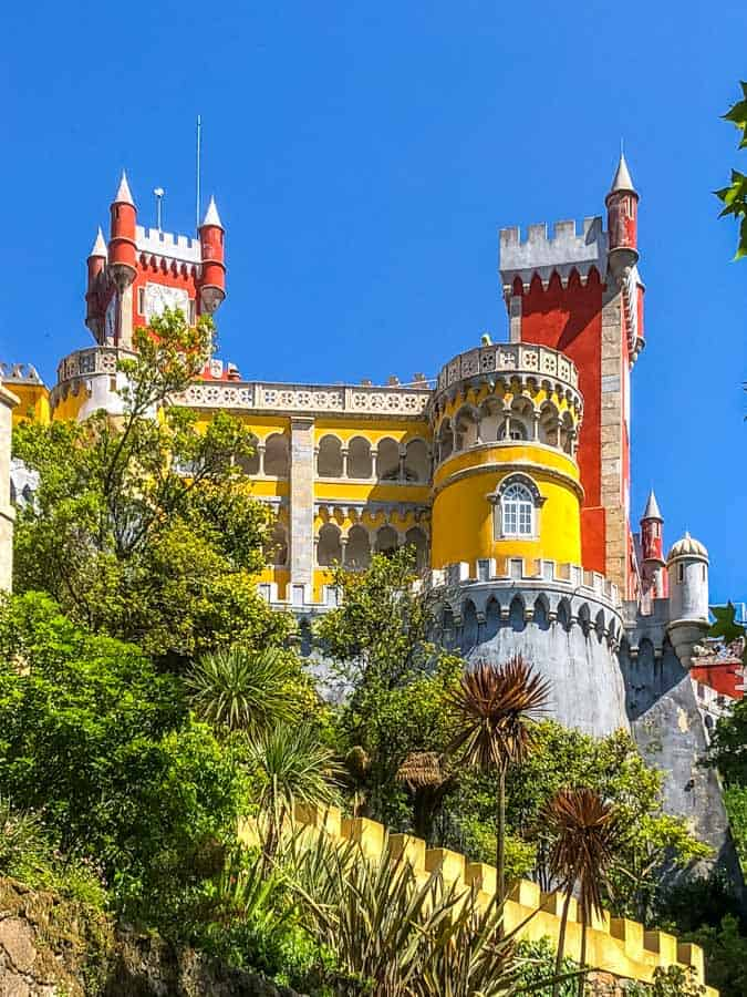 pena palace portugal from down below