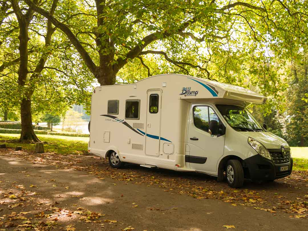 driving a motorhome france and parking in a safe location under the trees