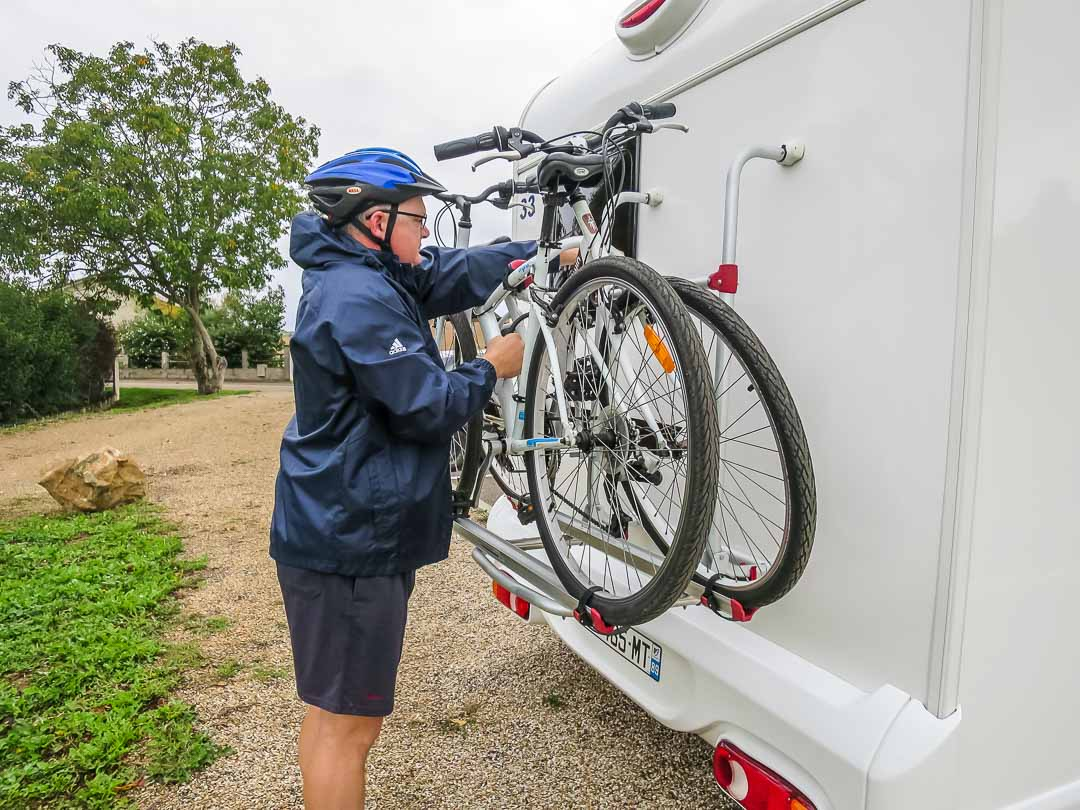 taking the bikes off the back of the motorhome