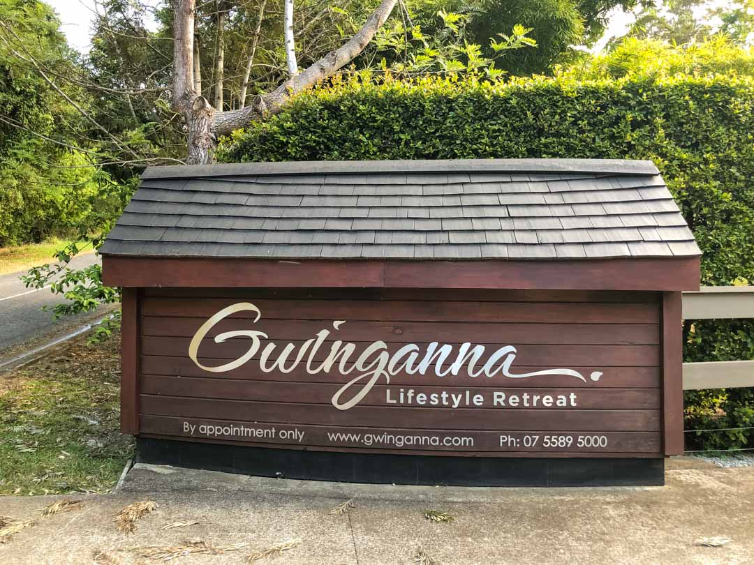 entrance sign gwinganna lifestyle retreat