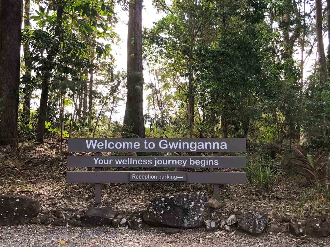gwinganna welcome sign at the top of the property