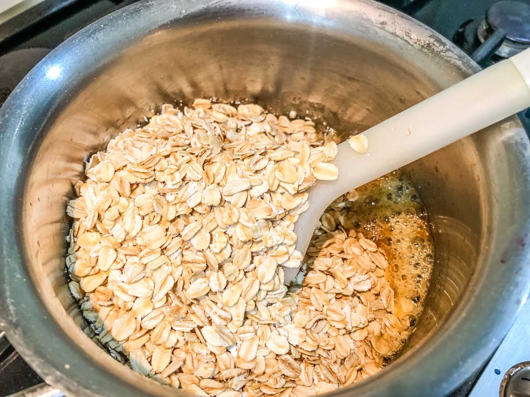 adding the oats to cranachan mix