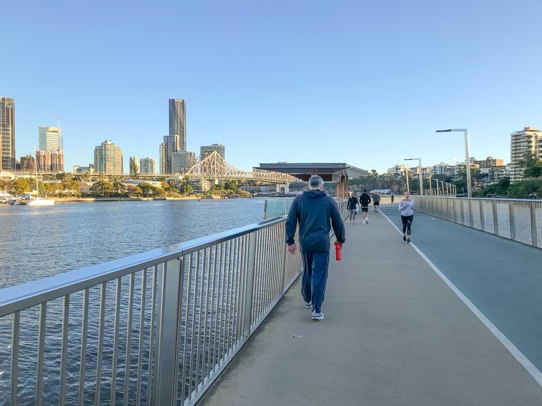 walking along the new farm riverwalk