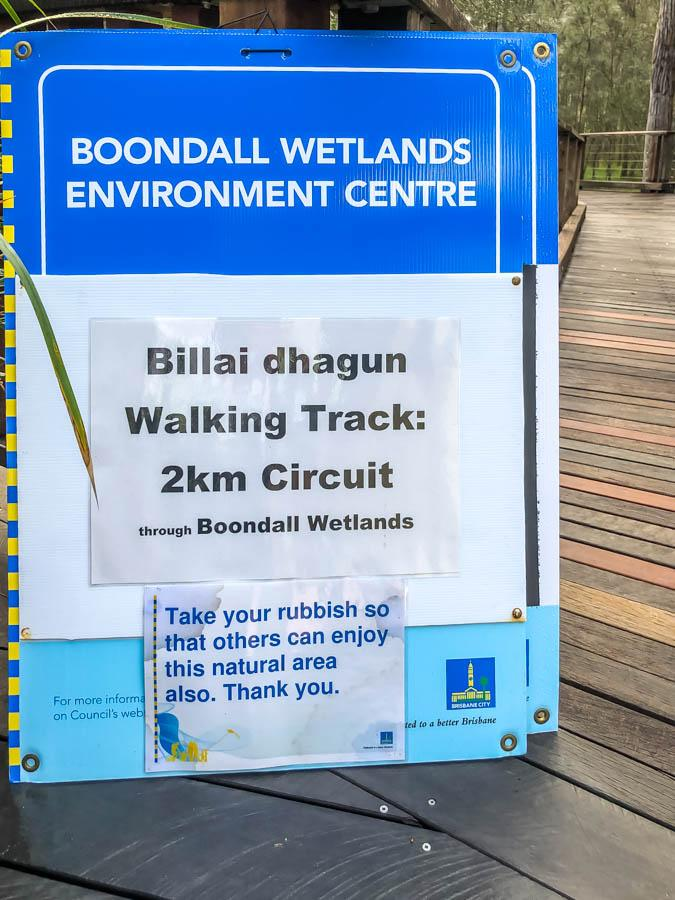 boondall wetlands walking track signage